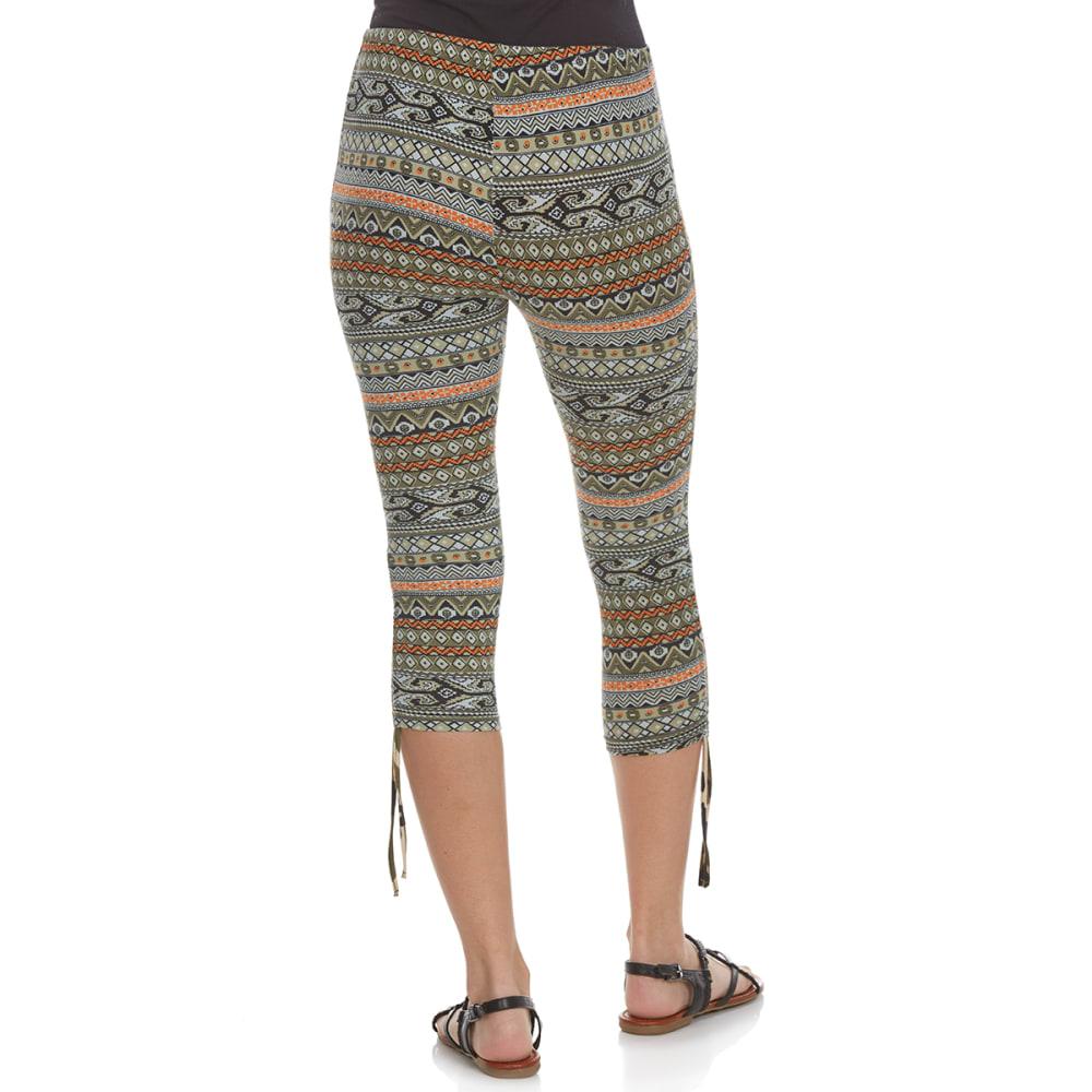 POOF Juniors' Aztec Inspired Printed Capri Leggings - BLACK COMBO
