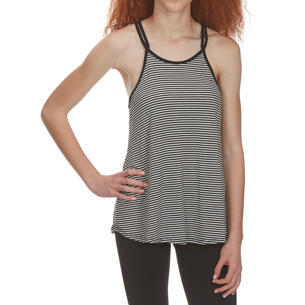 POOF Juniors' Spaghetti Strap Cami Tank with Crisscross Back - BLACK/EGGWHITE