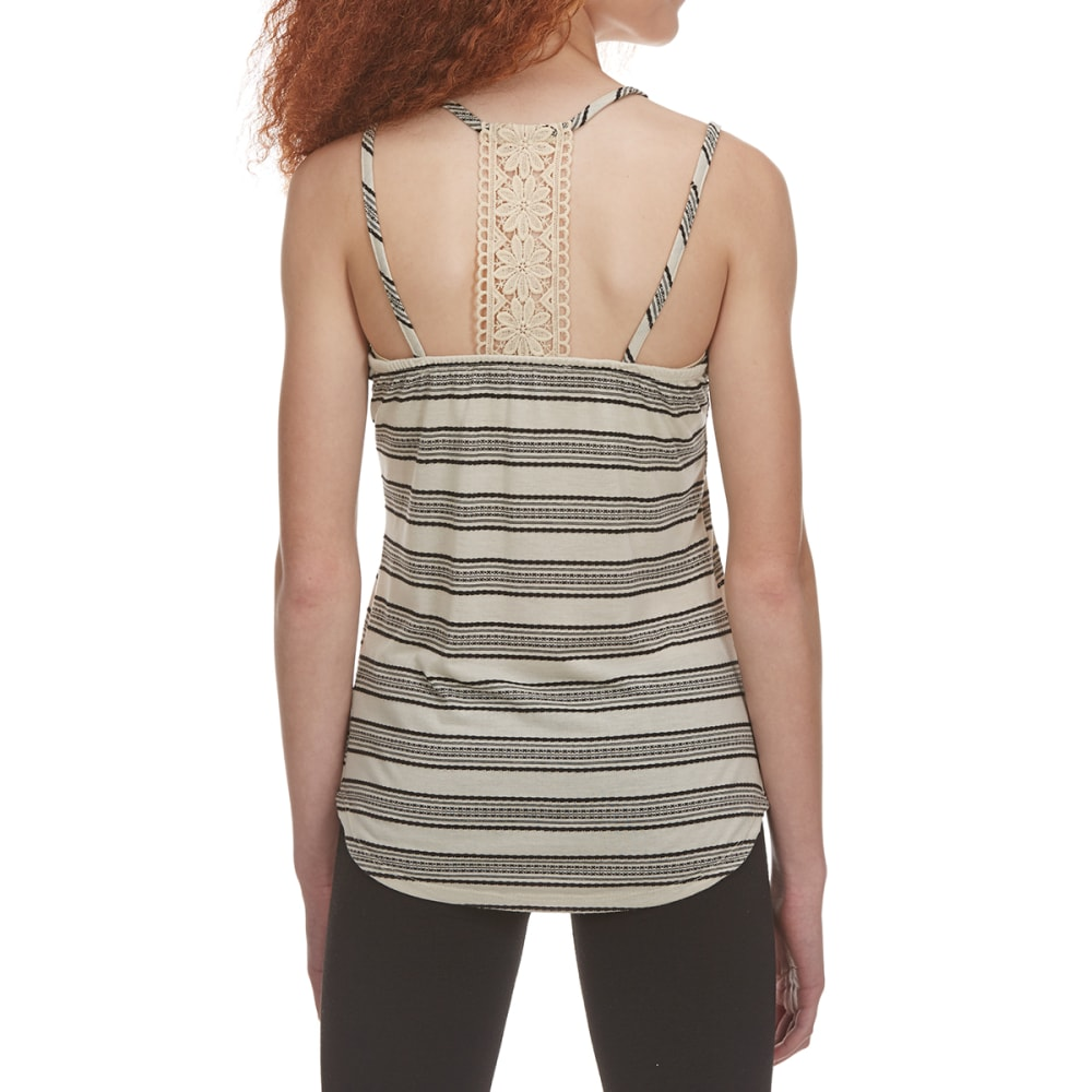 POOF Juniors' Crisscross Strap Tank Top with Back Lace Detail - NATURAL/BLACK