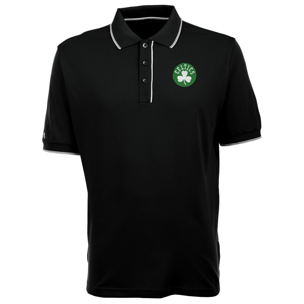 BOSTON CELTICS Men's Elite Polo Shamrock Logo Short-Sleeve Shirt - BLACK/WHITE