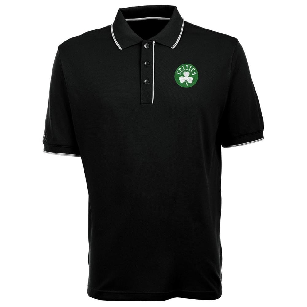 BOSTON CELTICS Men's Elite Polo Shamrock Logo Short-Sleeve Shirt - BLACK/WHITE