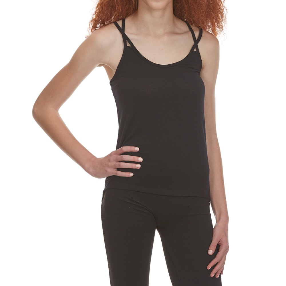 POOF Juniors' Crisscross Strap Tank Top with Back Lace Detail - BLACK