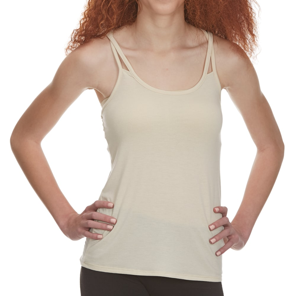 POOF Juniors' Crisscross Strap Tank Top with Back Lace Detail - NATURAL