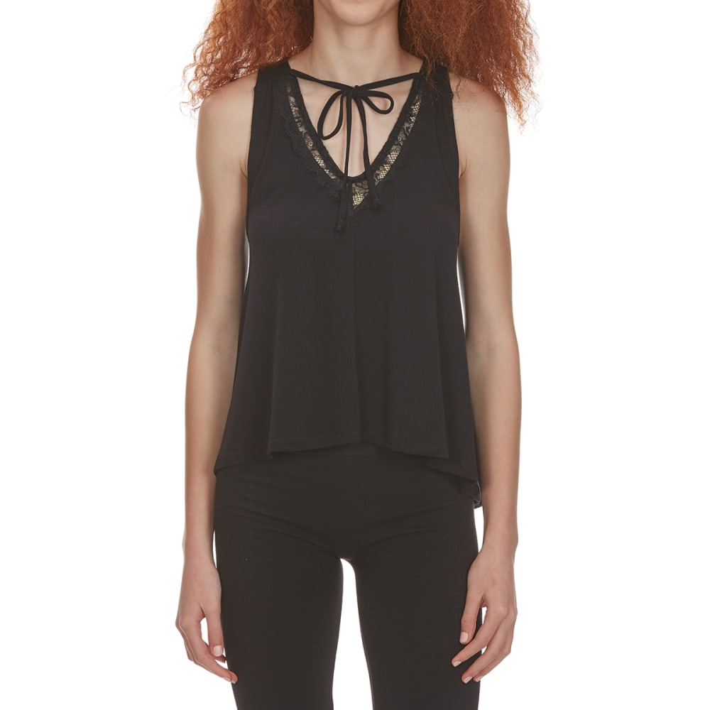 POOF Juniors' Front-Tie Lace V-Neck High-Low Tank Top - BLACK
