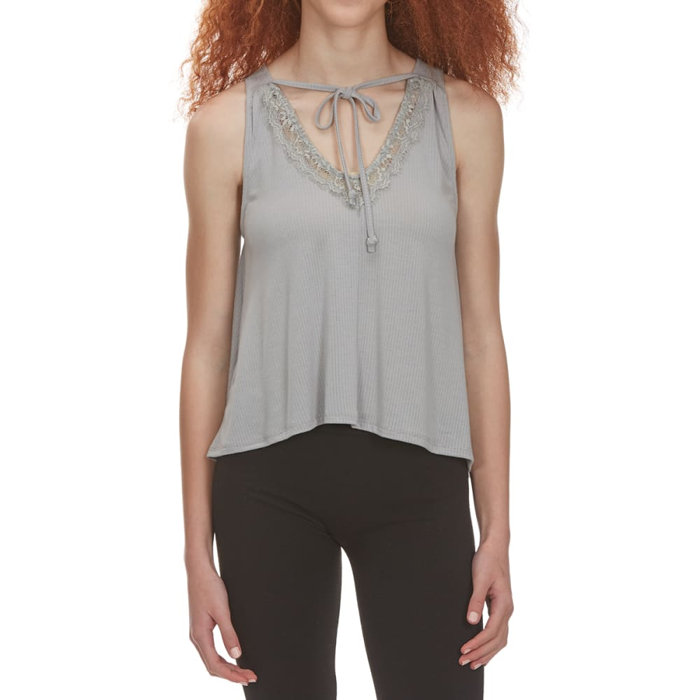 POOF Juniors' Front-Tie Lace V-Neck High-Low Tank Top - CONCRETE GRY