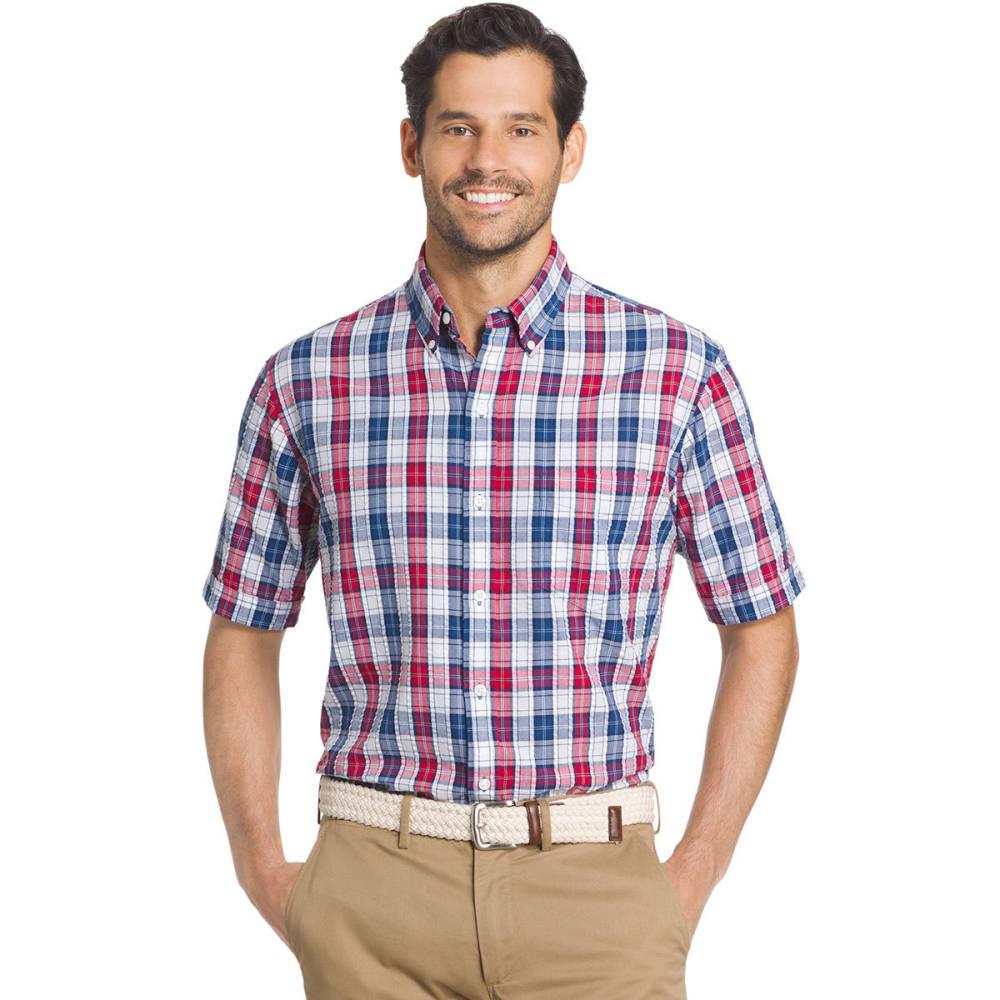 Arrow Men's Pucker Short Sleeve Woven Shirt - Blue, M