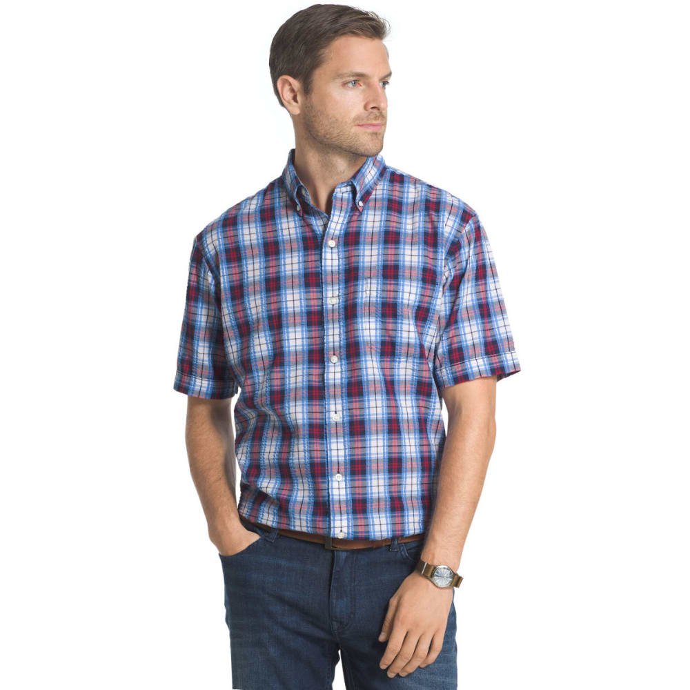 Arrow Men's Pucker Short Sleeve Woven Shirt - Blue, M