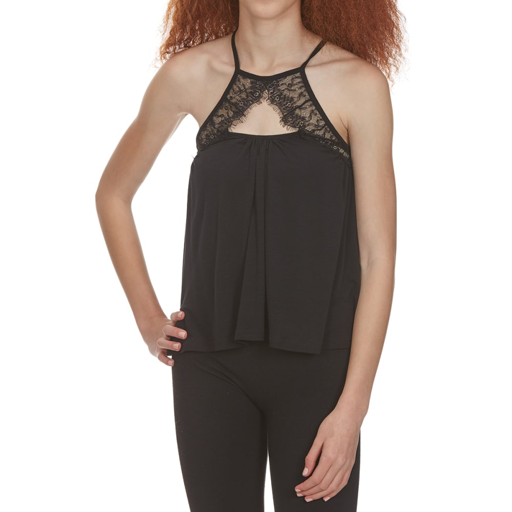 POOF Juniors' Lace Front Tank - BLACK
