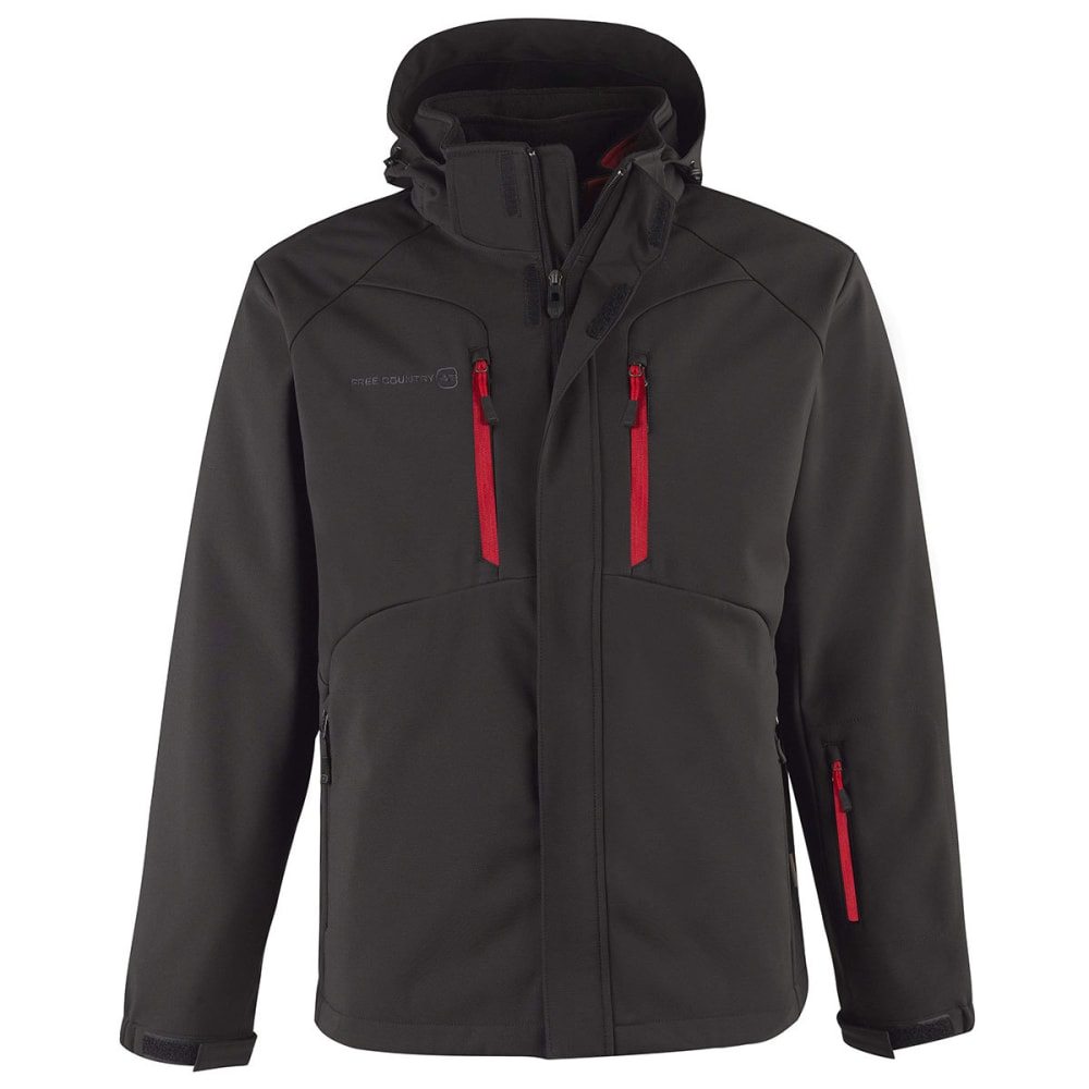 FREE COUNTRY Men's System Soft Shell 3-In-1 Jacket - JET BLACK