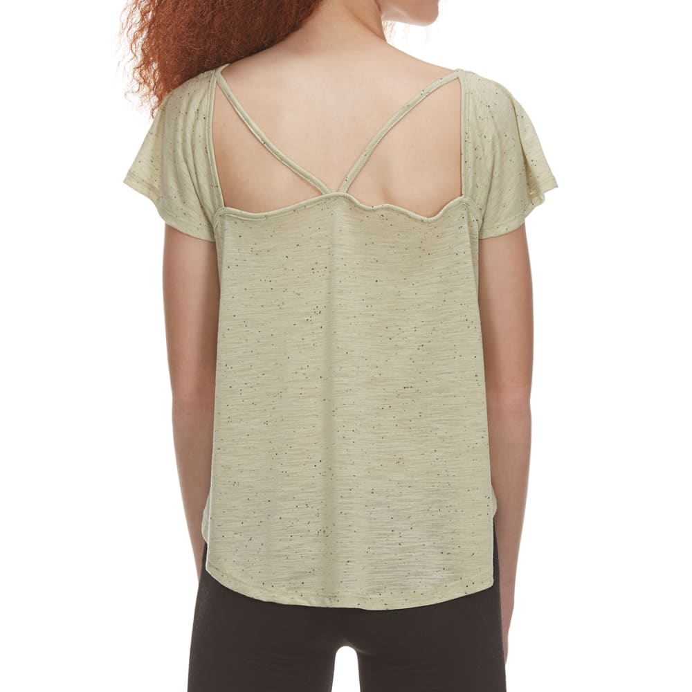 POOF Juniors' Speckled Short-Sleeve Top with Cutout Front Detail - LT OLIVE HTR SPECKLE