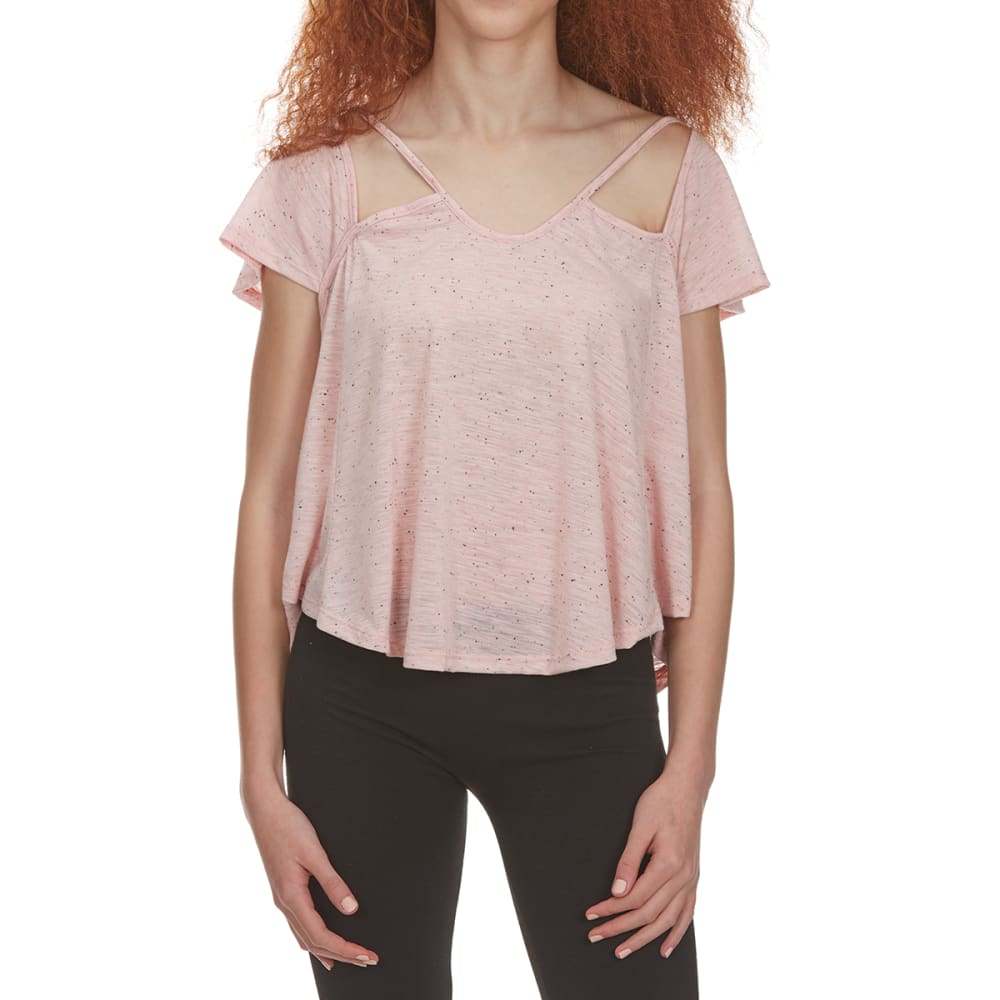 POOF Juniors' Speckled Short-Sleeve Top with Cutout Front Detail - NEW BLUSH HTR SPECKL