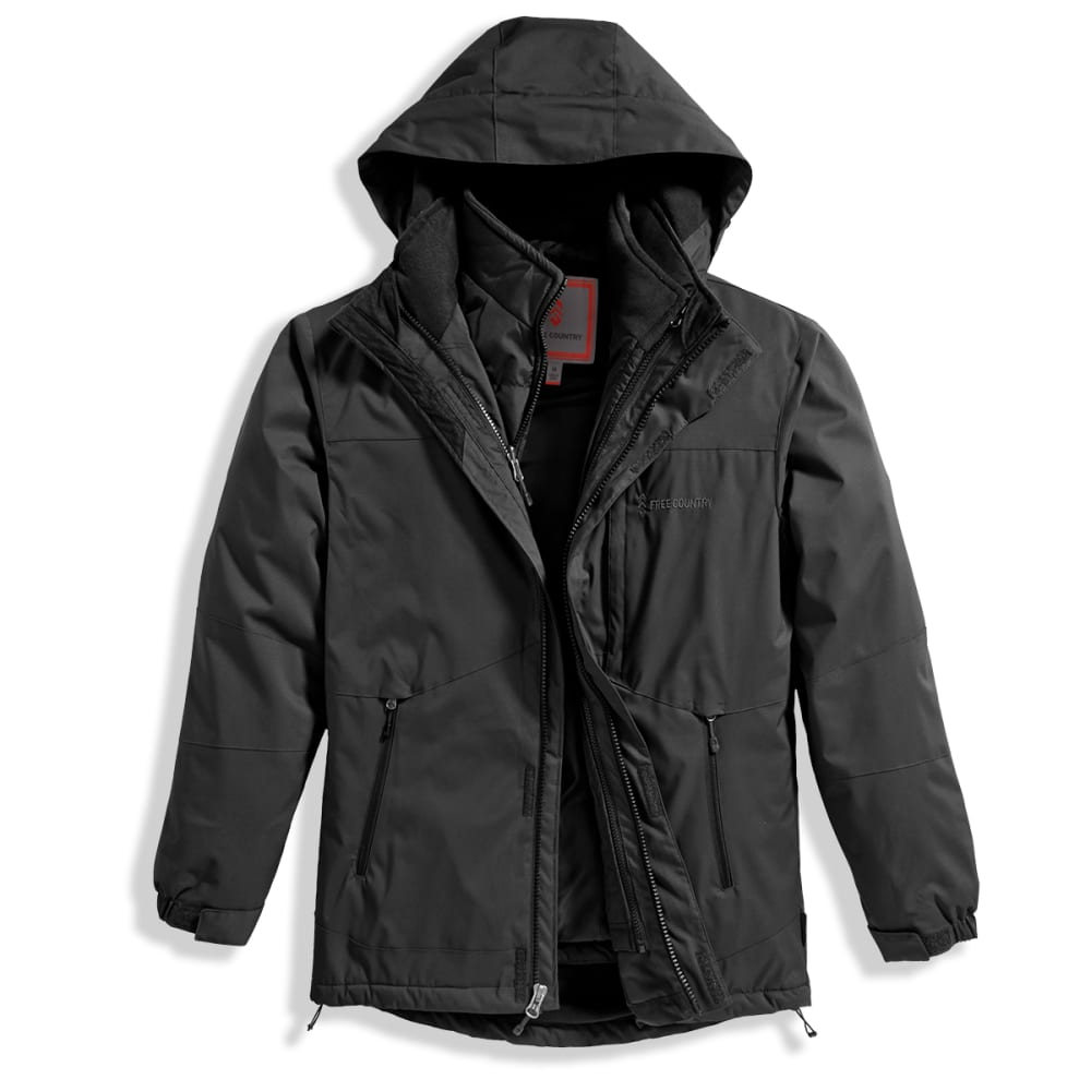 FREE COUNTRY Men's System Dobby 3-In-1 Jacket with Detachable Hood - BLACK