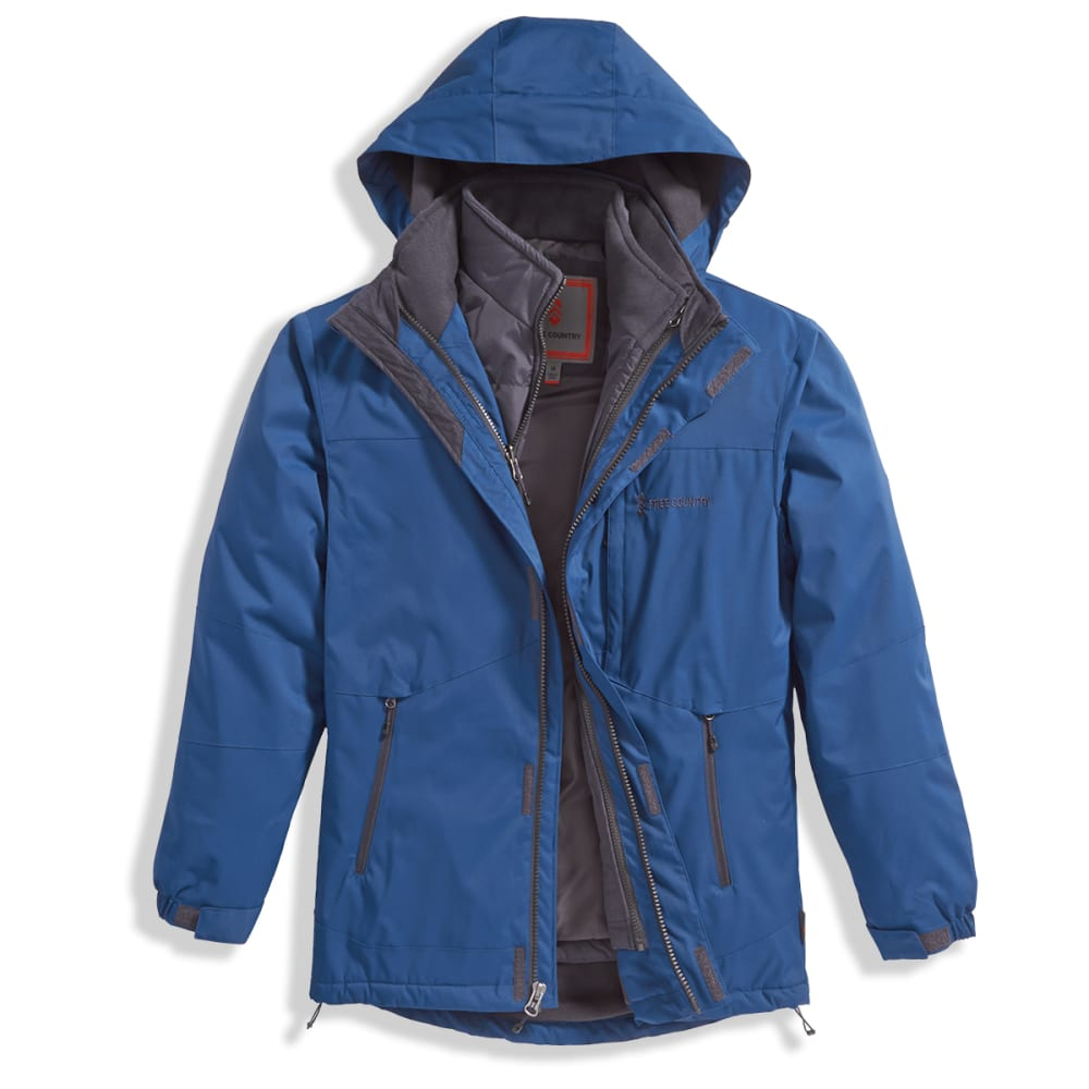 FREE COUNTRY Men's System Dobby 3-In-1 Jacket with Detachable Hood - DARK SPRUCE