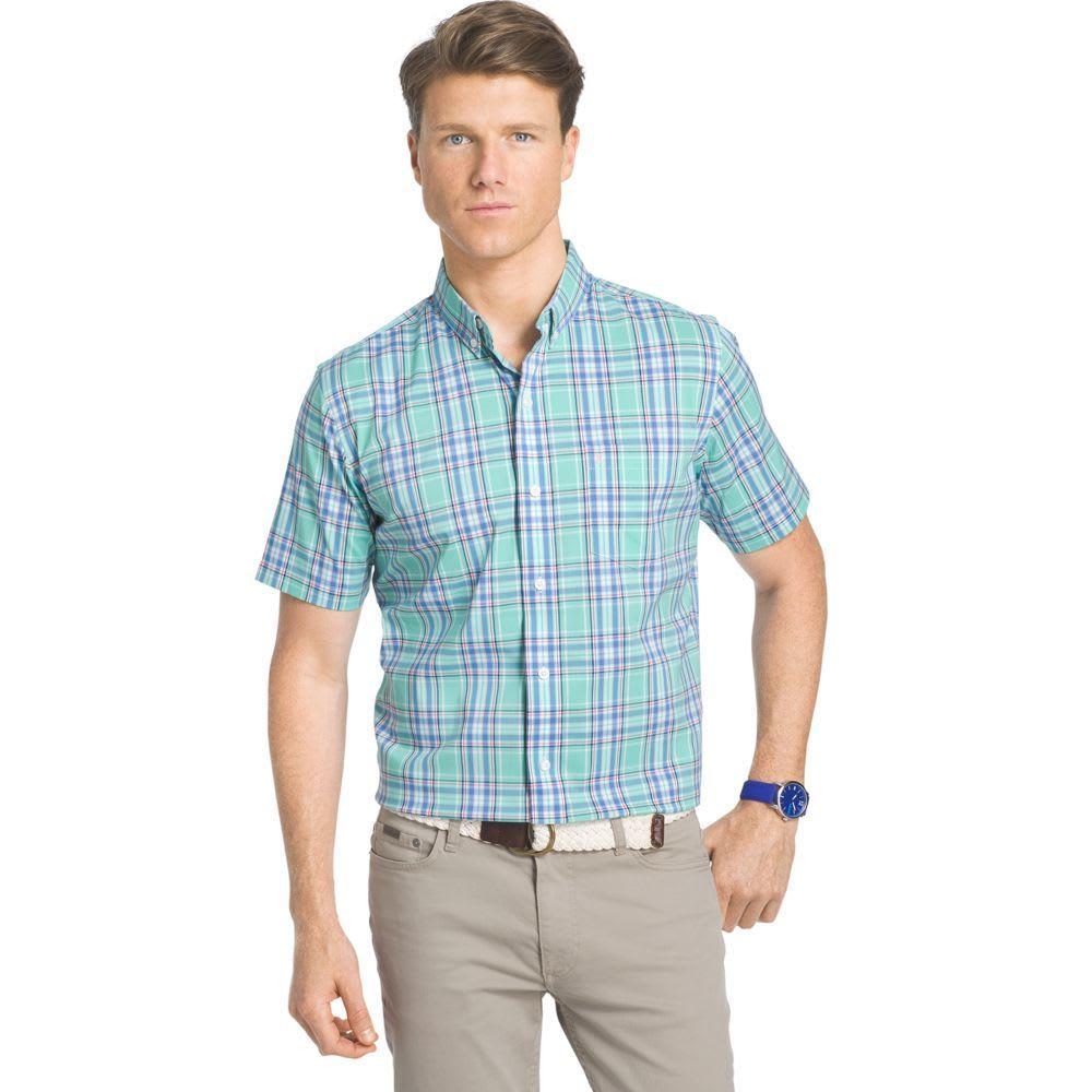 IZOD Men's Big And Tall Short Sleeve Woven Plaid Shirt - CASCADE-339