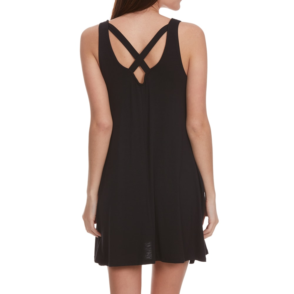 POOF Juniors' Double V Back Trapeze Dress - BLACK