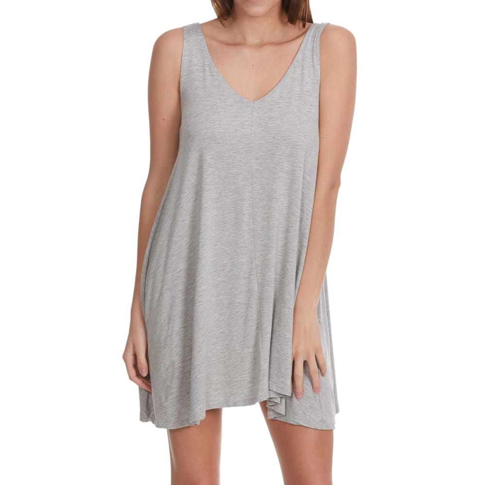 POOF Juniors' Double V Back Trapeze Dress - HEATHER GREY
