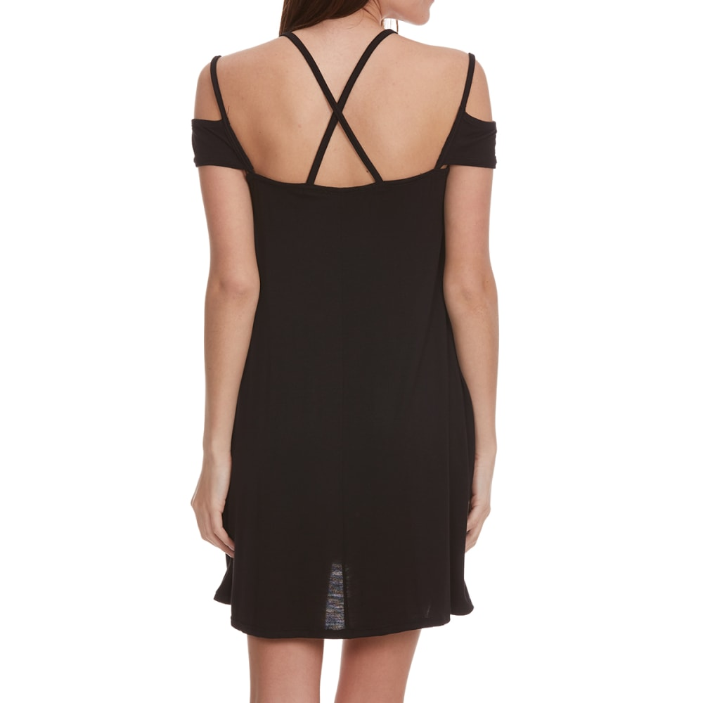 POOF Juniors' Cold Shoulder Strappy Trapeze Dress - BLACK