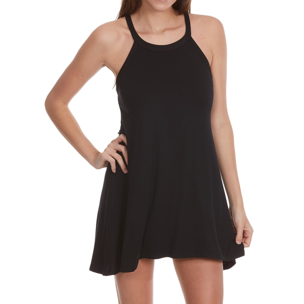 POOF Juniors' Solid High-Neck Trapeze Dress - BLACK