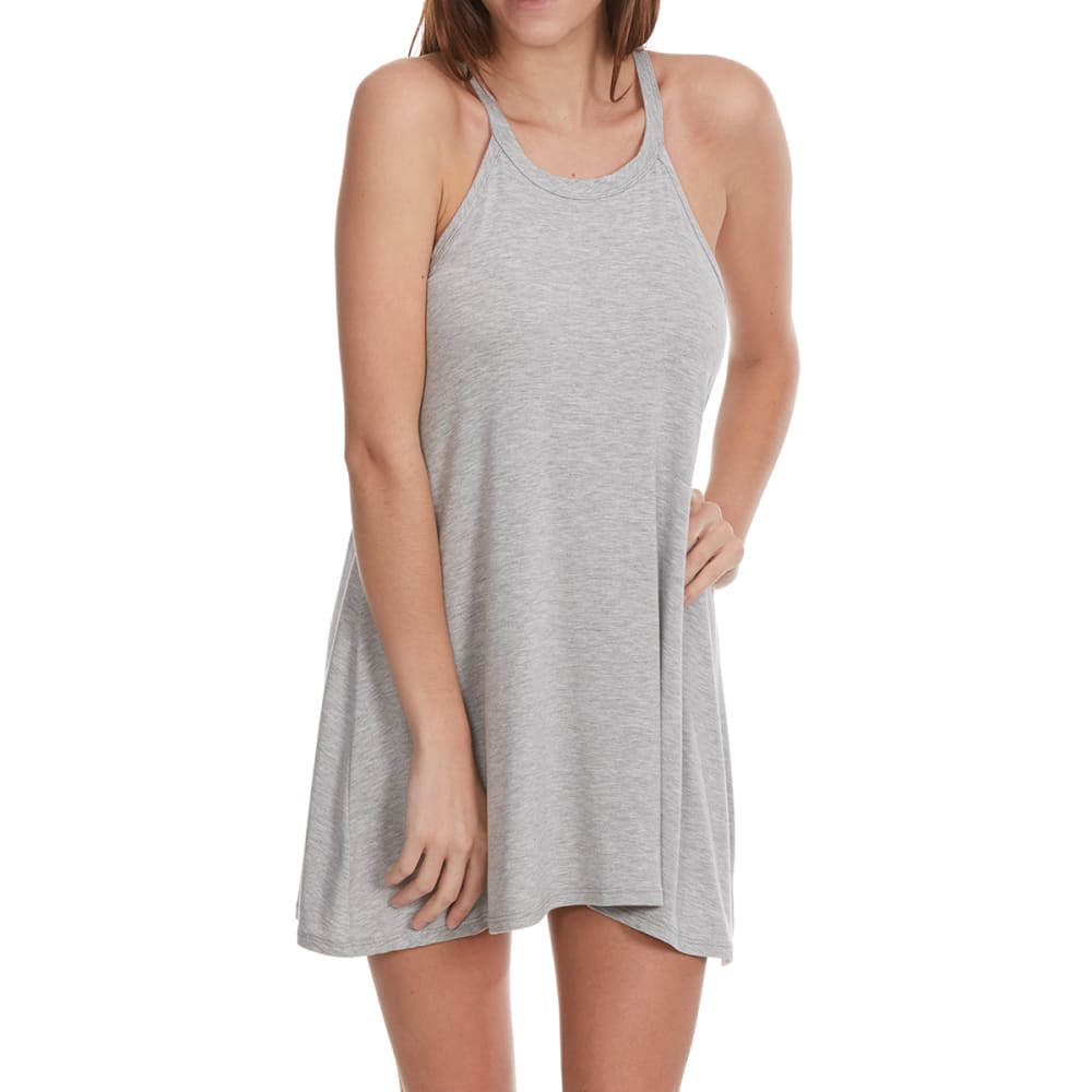POOF Juniors' Solid High-Neck Trapeze Dress - HTR GREY