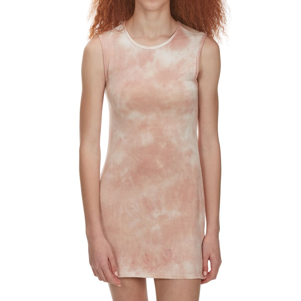 POOF Juniors' Tie Dye Scoop Neck Knit Dress - NUDE