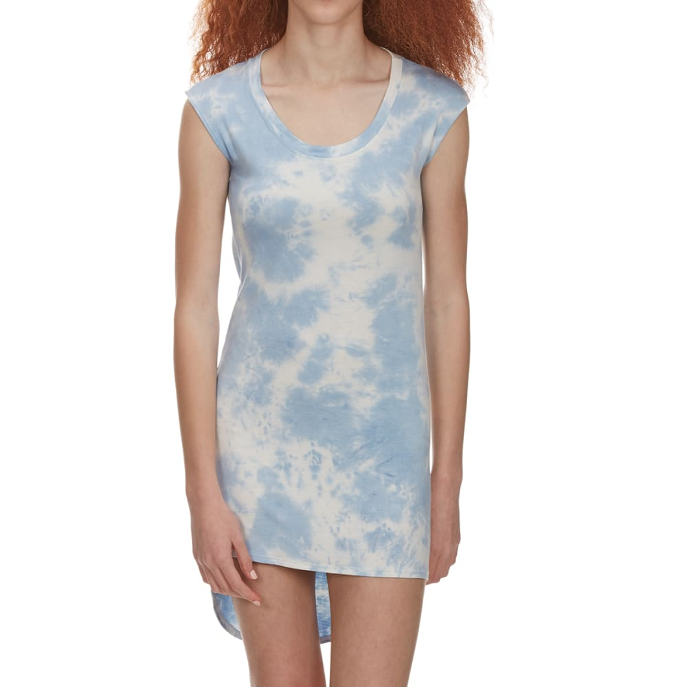 POOF Juniors' Tie Dye Scoop Knit Hi-Lo Hem Dress - CHAMBRAY