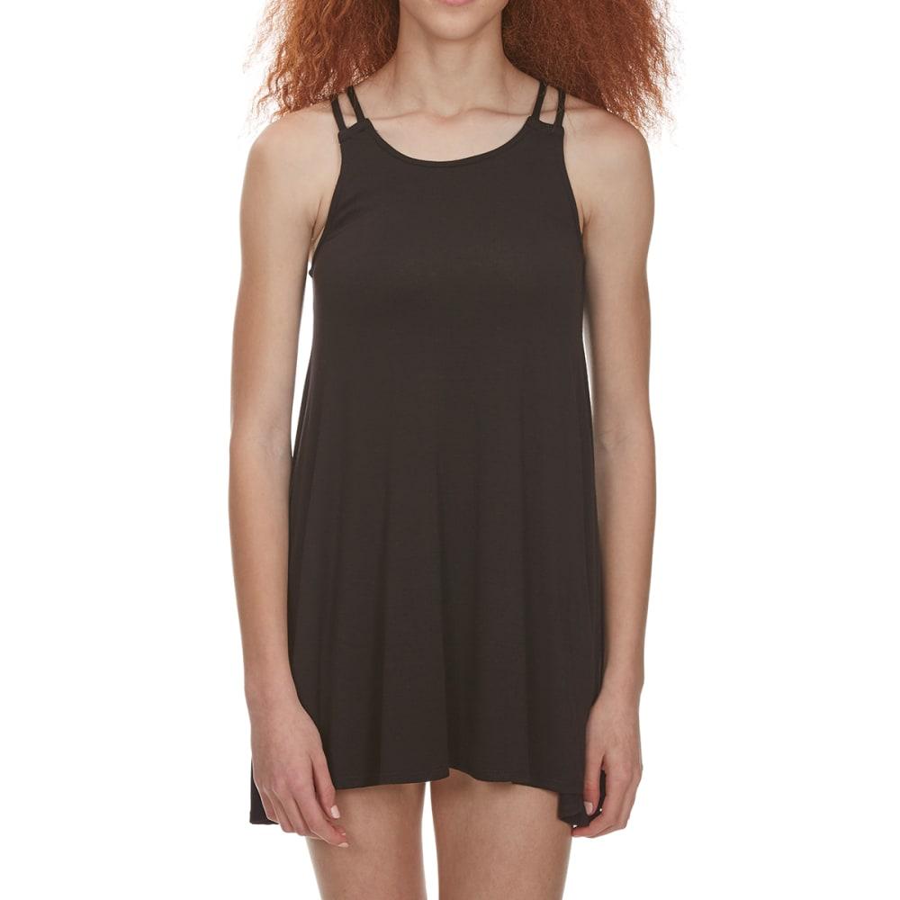 POOF Juniors' Sleeveless Strap Back Trapeze Dress - BLACK