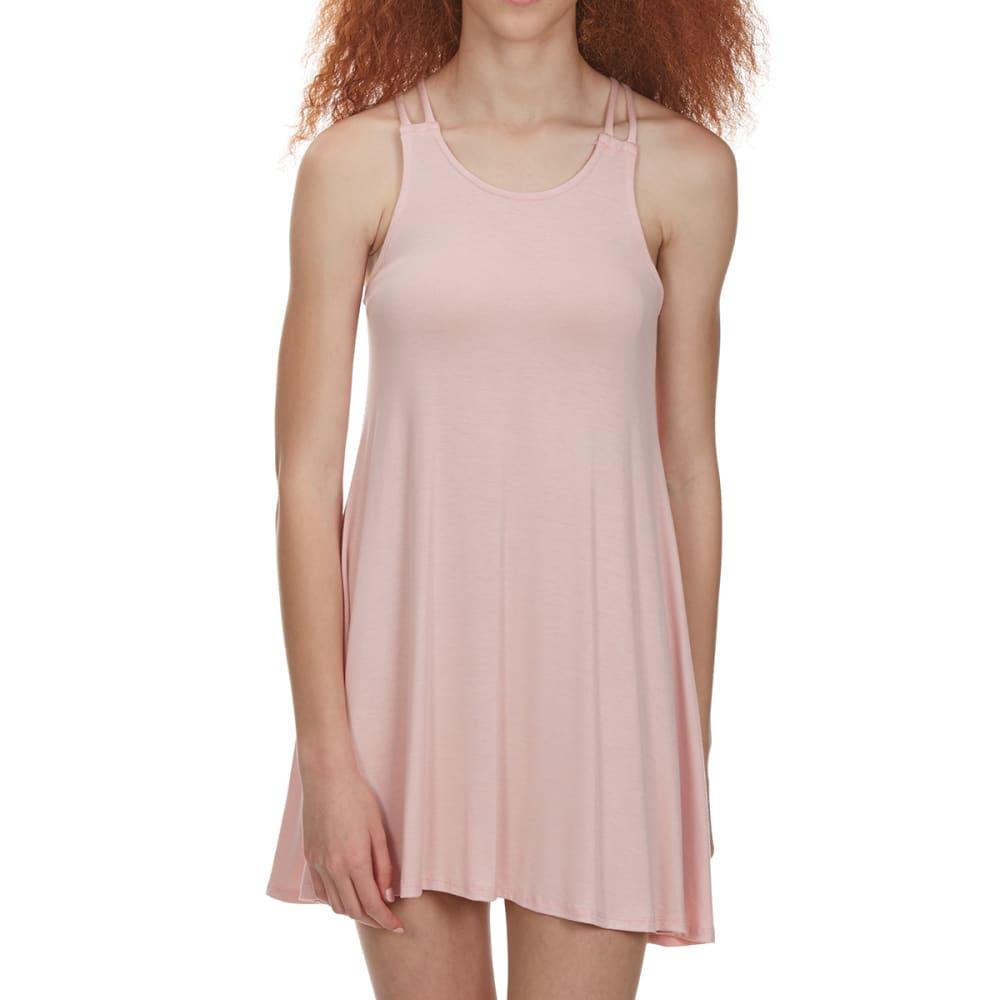 POOF Juniors' Sleeveless Strap Back Trapeze Dress - BLUSH