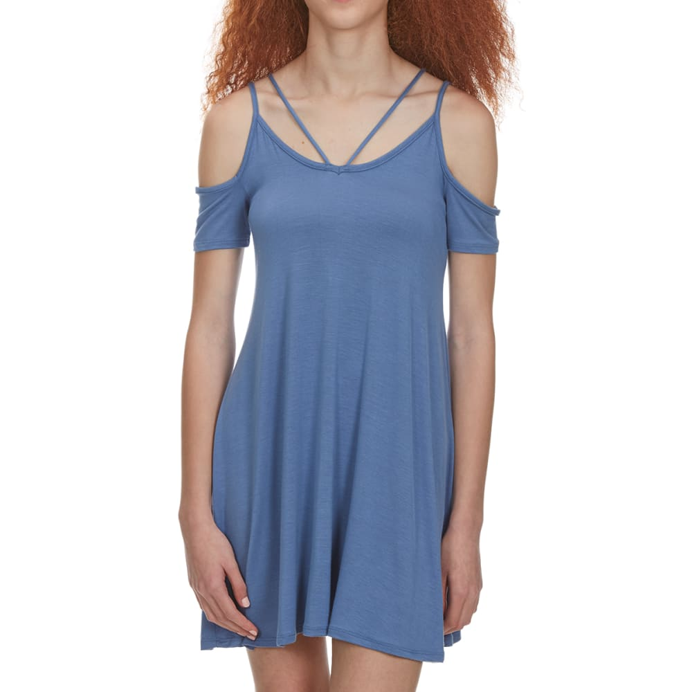 POOF Juniors' Halter Front Cold Shoulder Strappy Trapeze Dress - DENIM