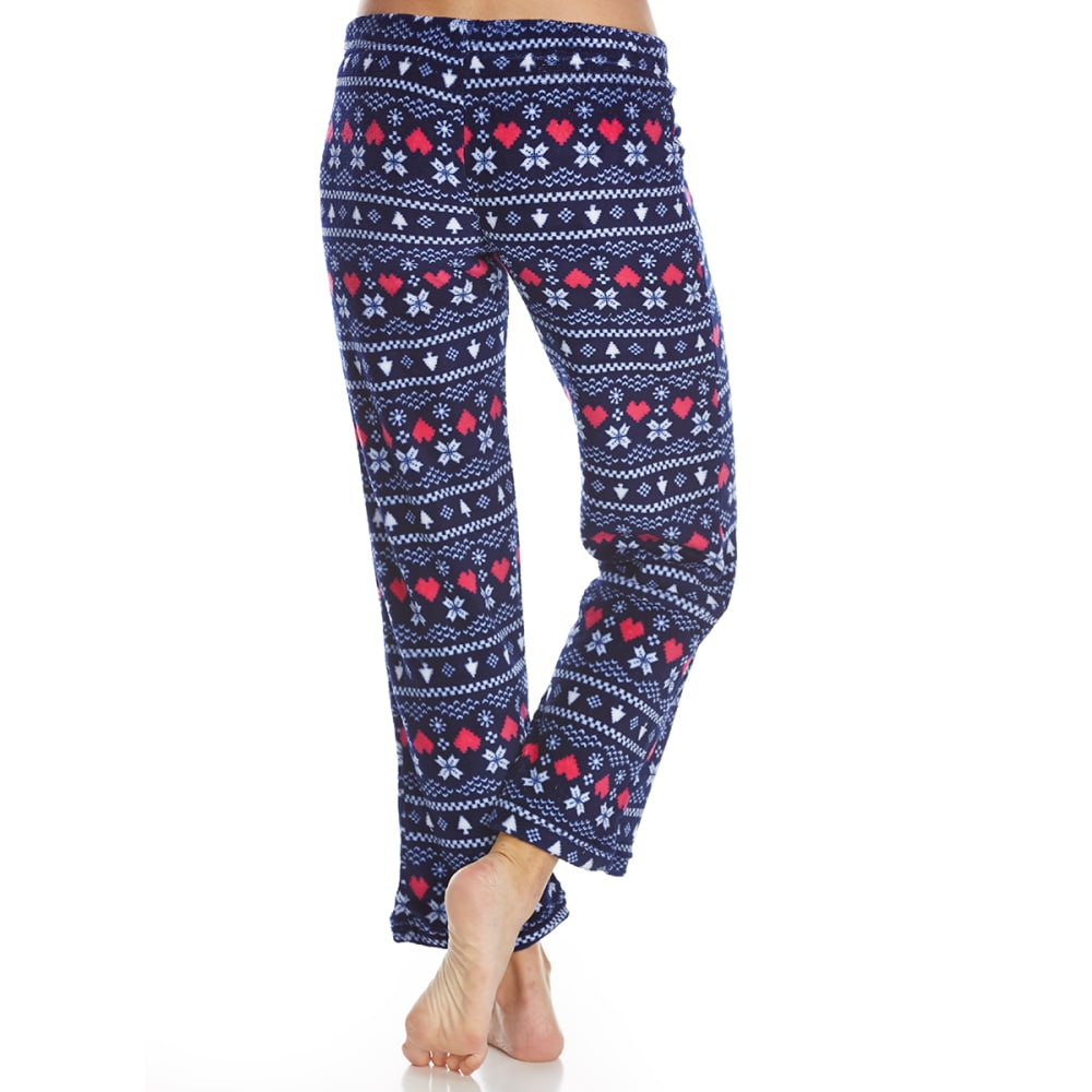 SLEEP & CO. Women's Fair Isle Plush Sleep Pants - NAVY FAIRISLE