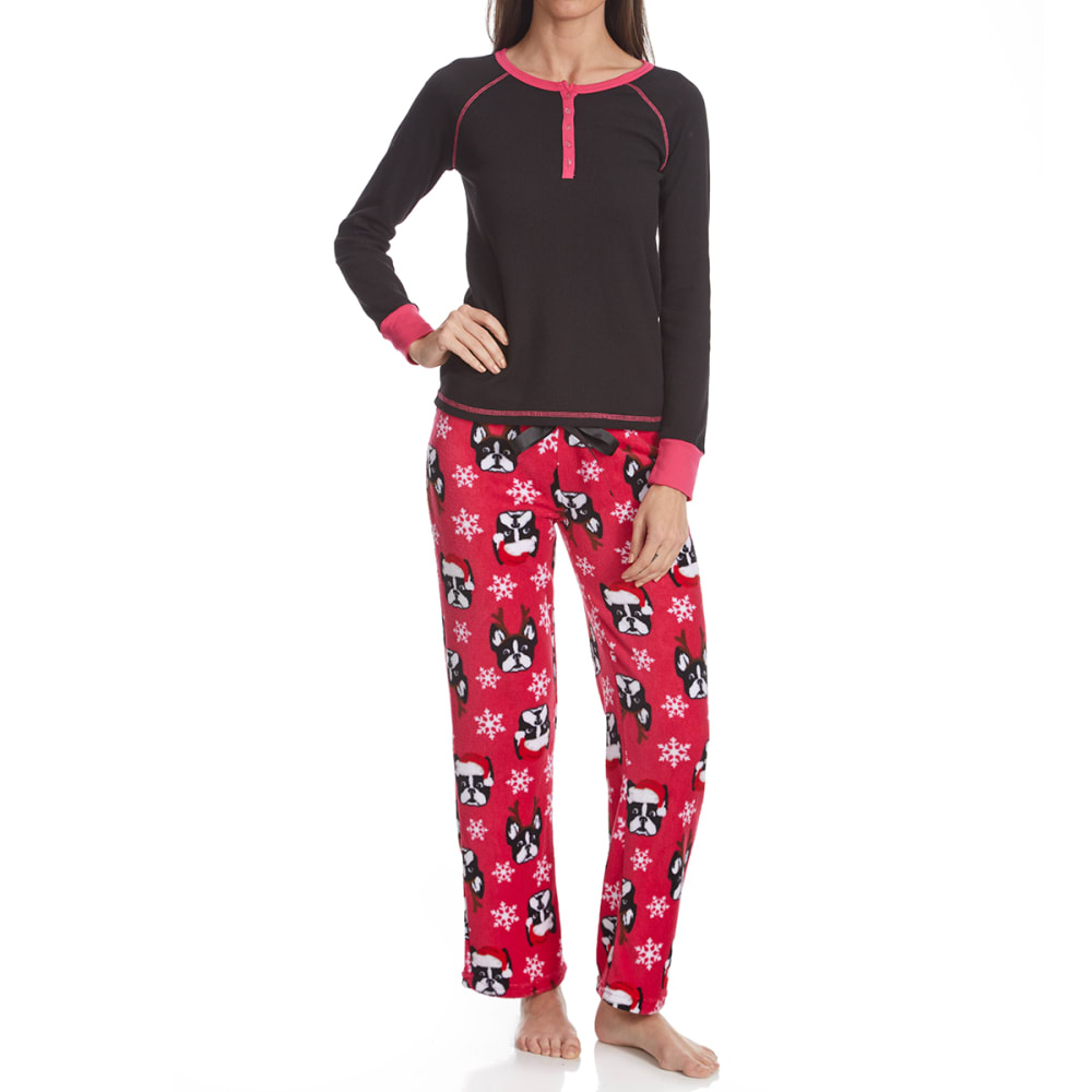 SLEEP & CO. Women's Reindogs Thermal Plush Sleep Set - REINDEER DOGS