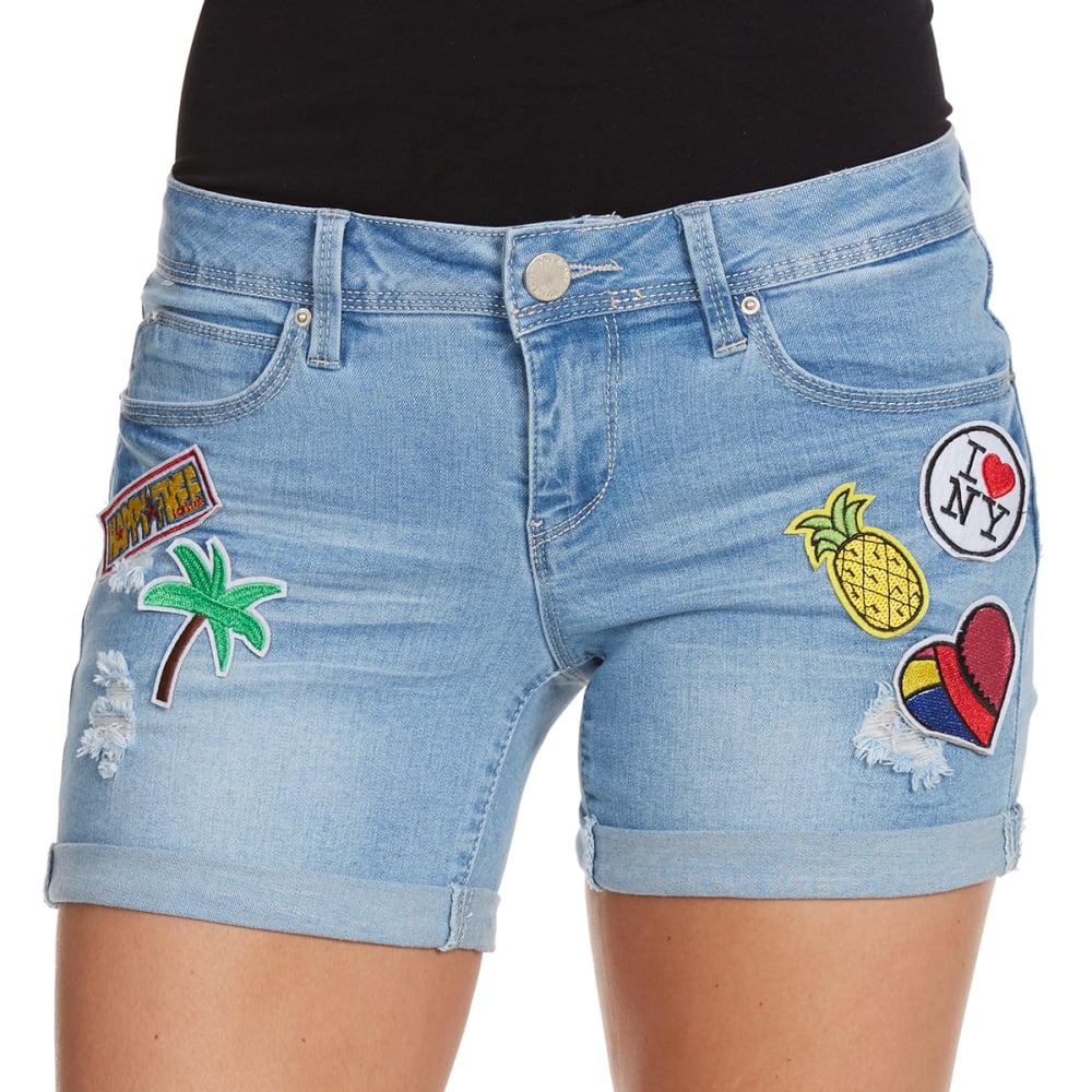 YMI Juniors' Patch Shorts - L124-DENIM