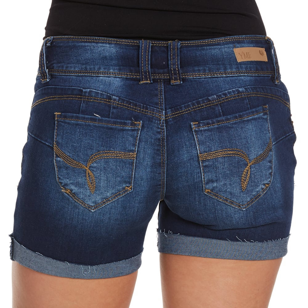 YMI Juniors' Wanna Betta Butt Double Button Fray Cuff Shorts - S08-DARK BLUE