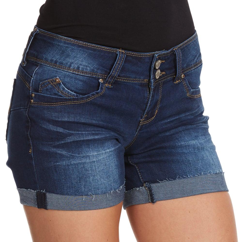 YMI Juniors' Wanna Betta Butt Double Button Fray Cuff Shorts - S08-DARK BLUE