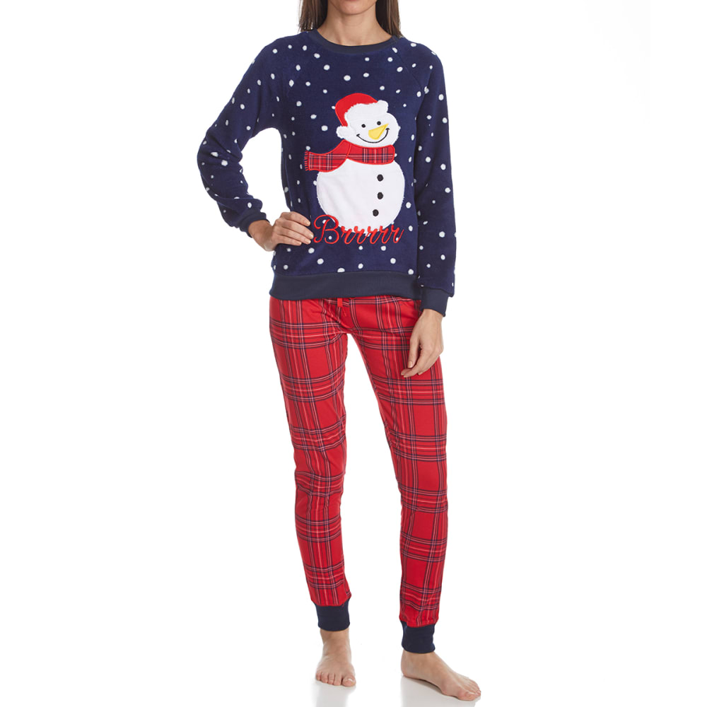 SLEEP & CO. Women's Snowman Plush Knit Sleep Set - SNOWMAN