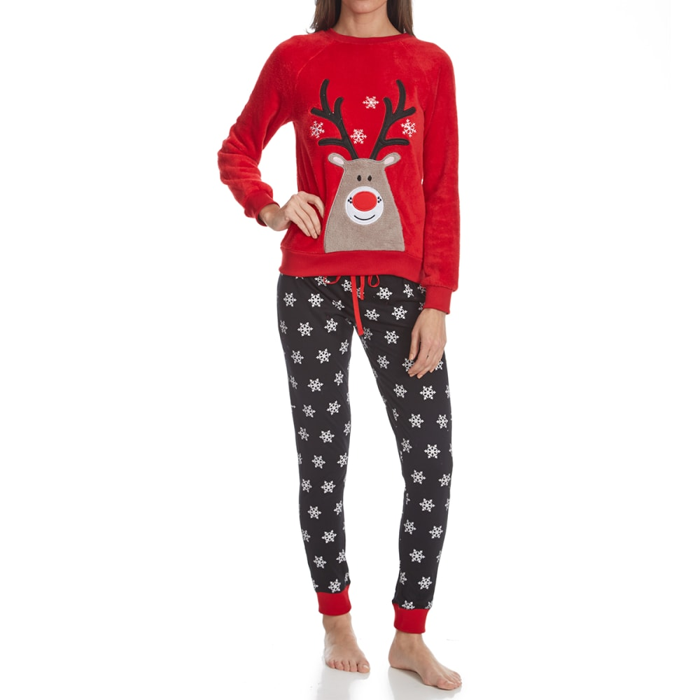 SLEEP & CO. Women's Reindeer Plush Knit Sleep Set - REINDEER