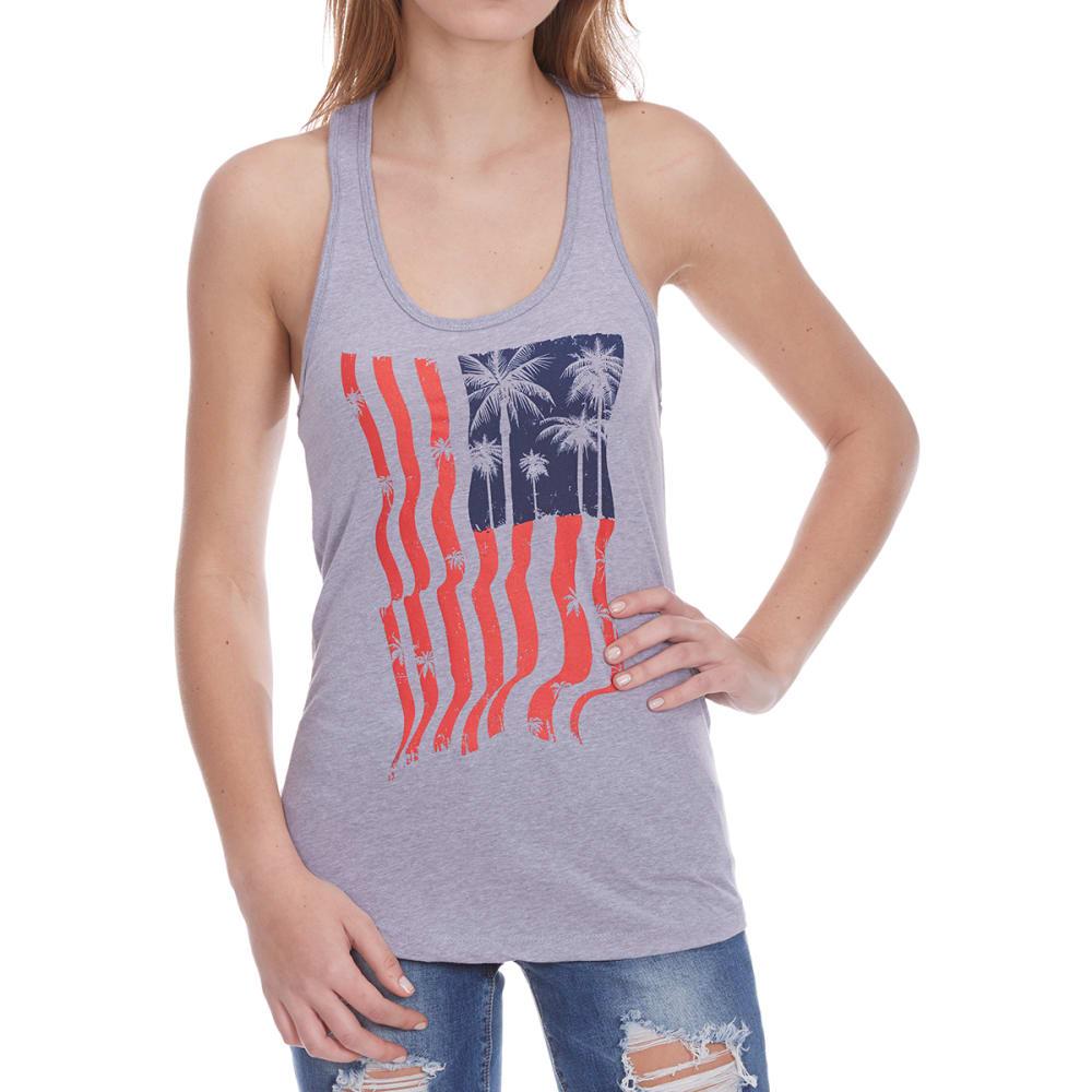 HYBRID Juniors' Americana Palms Flag 2 Tank Top - GREY