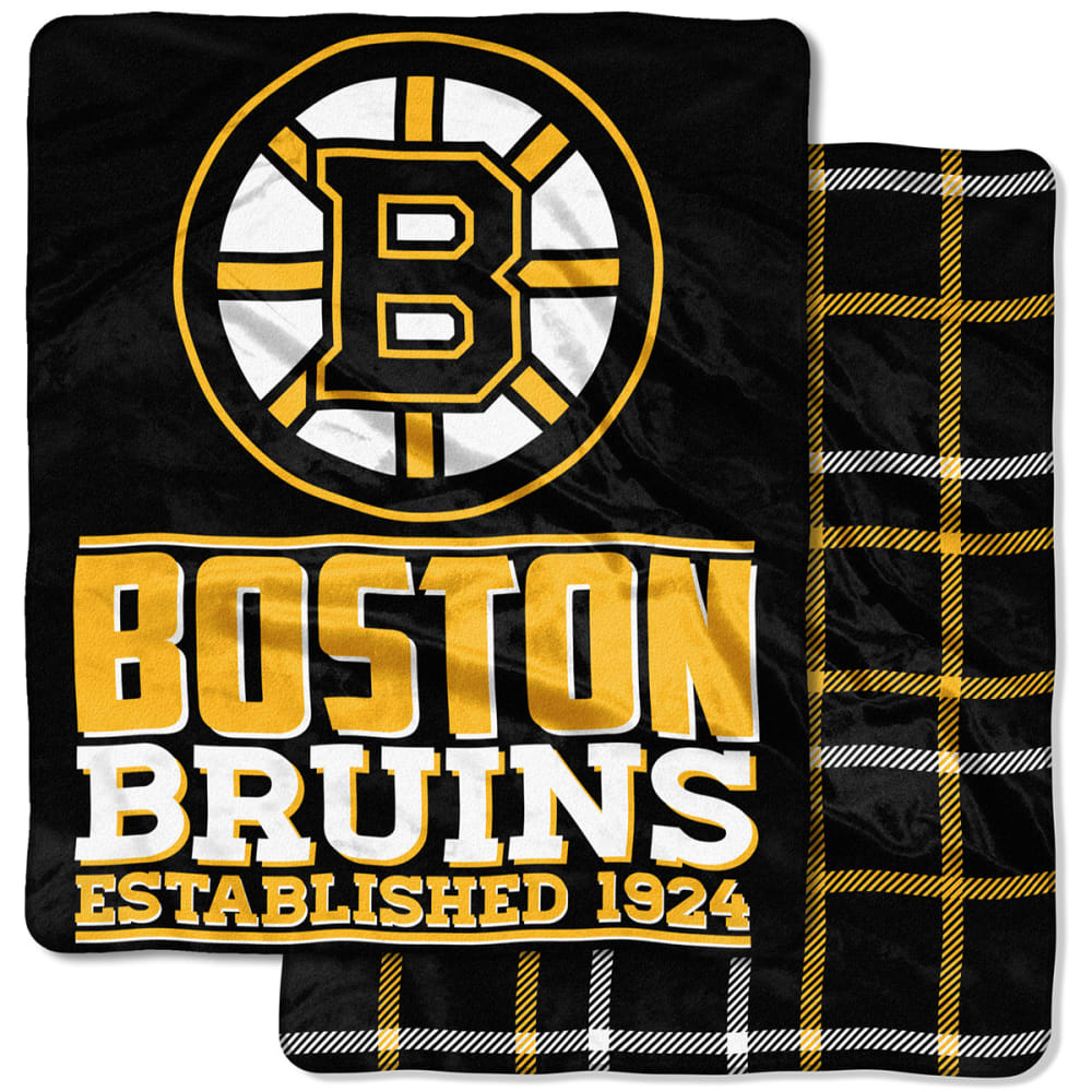 BOSTON BRUINS Double-Sided Cloud Throw Blanket - BLACK