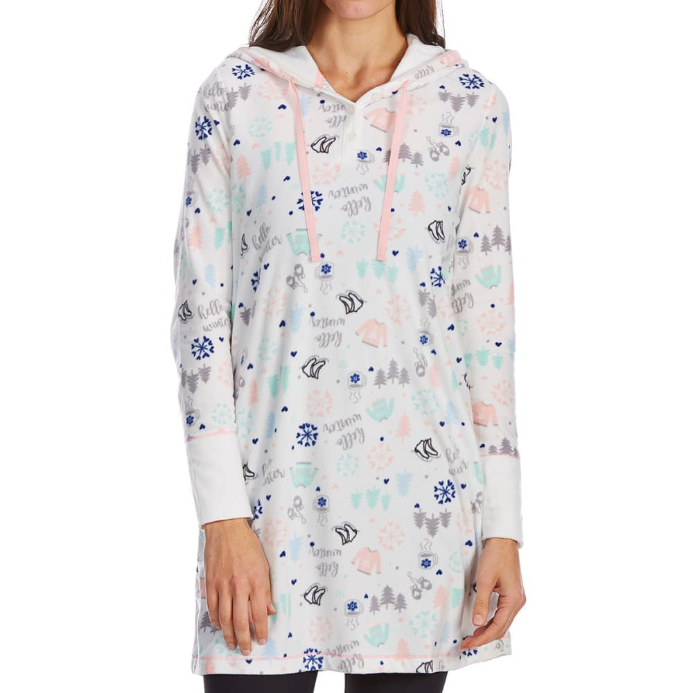 LAYLA Women's Hooded Sleep Shirt - HELLO WINTER-291