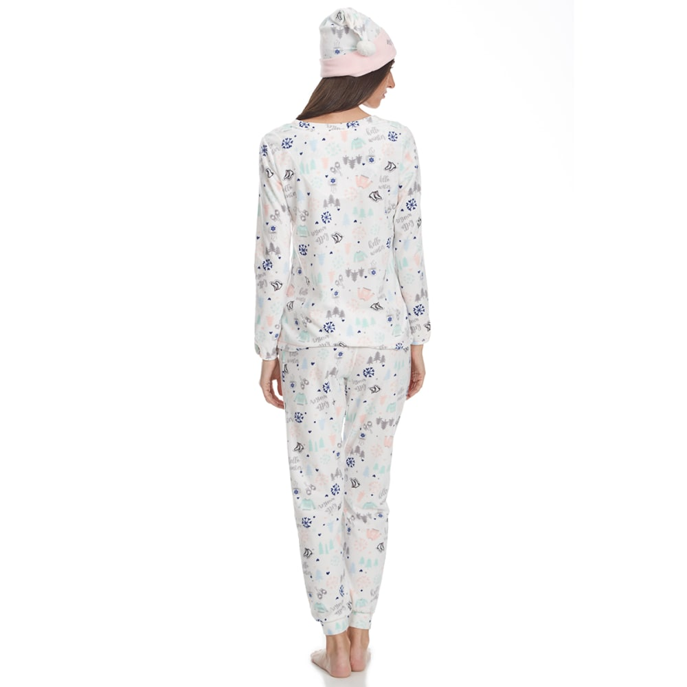 LAYLA Women's Jogger Pajama Set with Matching Hat - HELLO WINTER-291