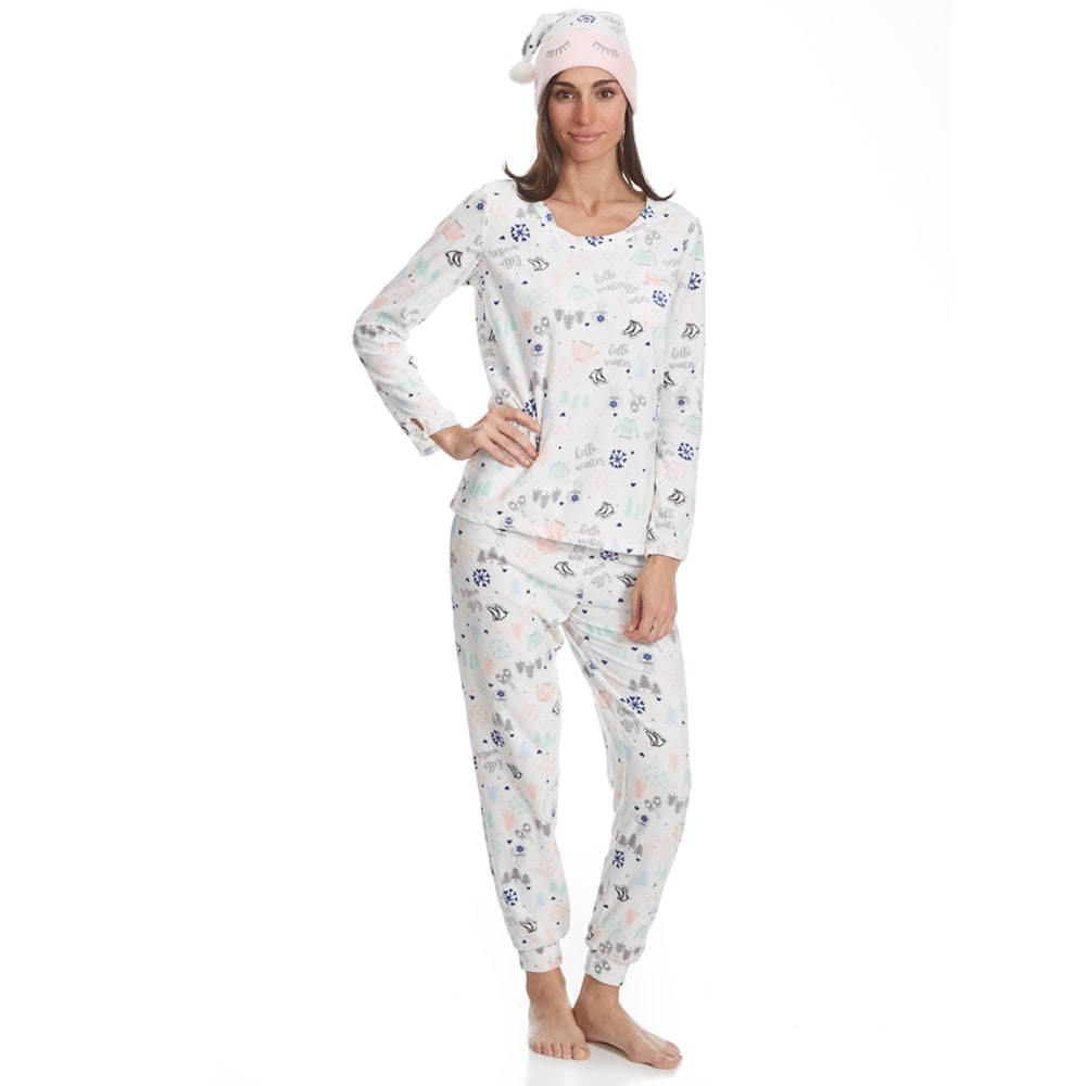 Carole Hochman Women's Jogger Pajama Set With Matching Hat - Various Patterns, S