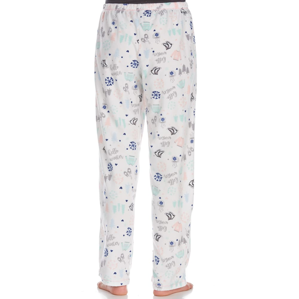 ST. EVE Women's Rolled Microfleece Sleep Pants - HELLO WINTER-291