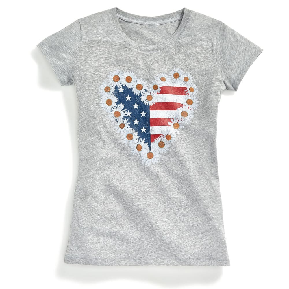 HYBRID Juniors' Americana Daisy USA Short-Sleeve Tee - GREY