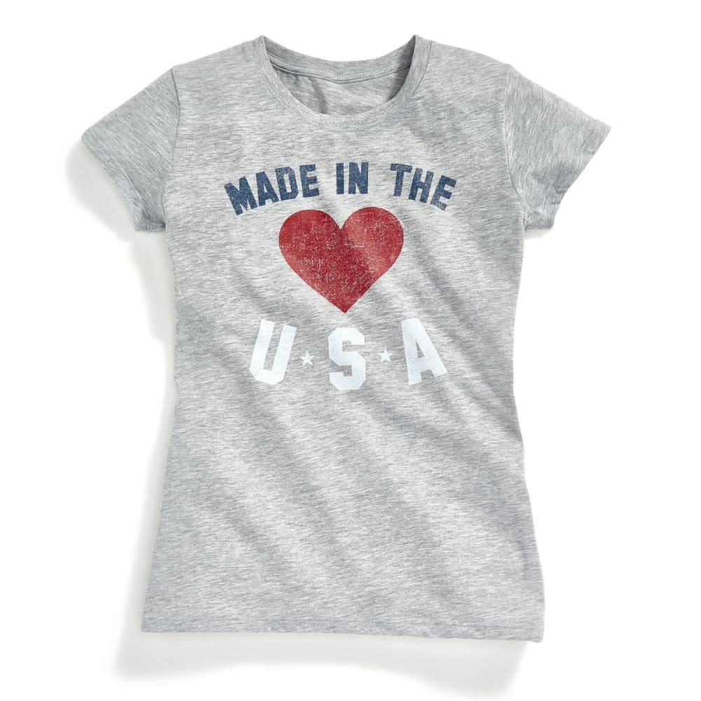HYBRID Juniors' Americana Made in USA Short-Sleeve Tee - GREY