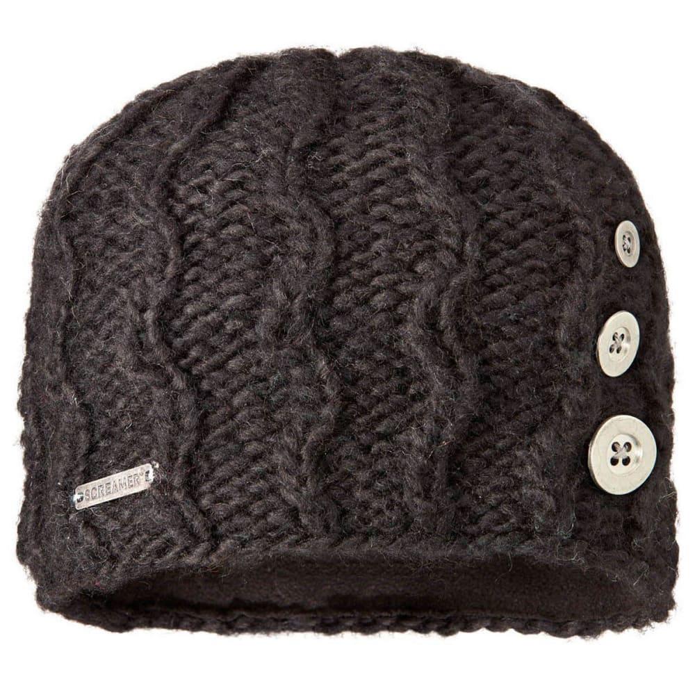 SCREAMER Women's Tapestry Button Beanie Hat with Fleece Lining - BLACK-200