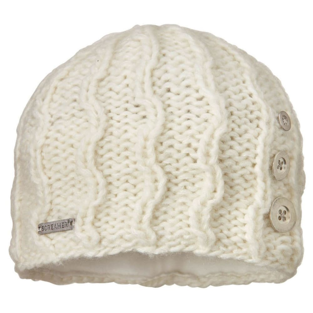 SCREAMER Women's Tapestry Button Beanie Hat with Fleece Lining - WHITE-900
