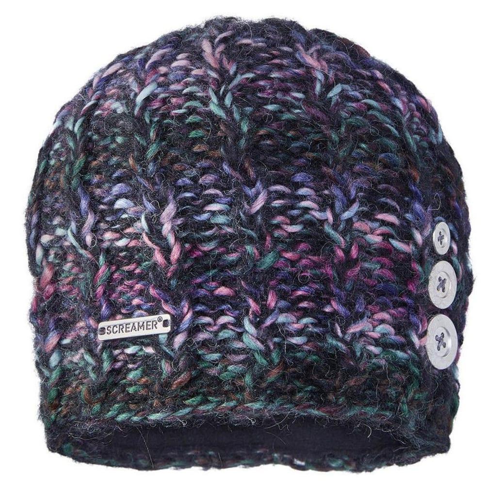 SCREAMER Women's Tapestry Button Beanie Hat with Fleece Lining - BLACK/ROSE/AQUA-222