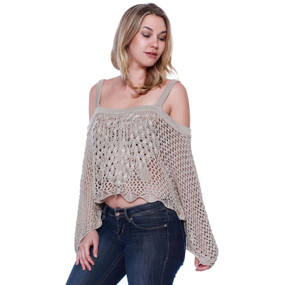 TAYLOR & SAGE Juniors' Cold Shoulder Crochet Top - TAP-TAUPE