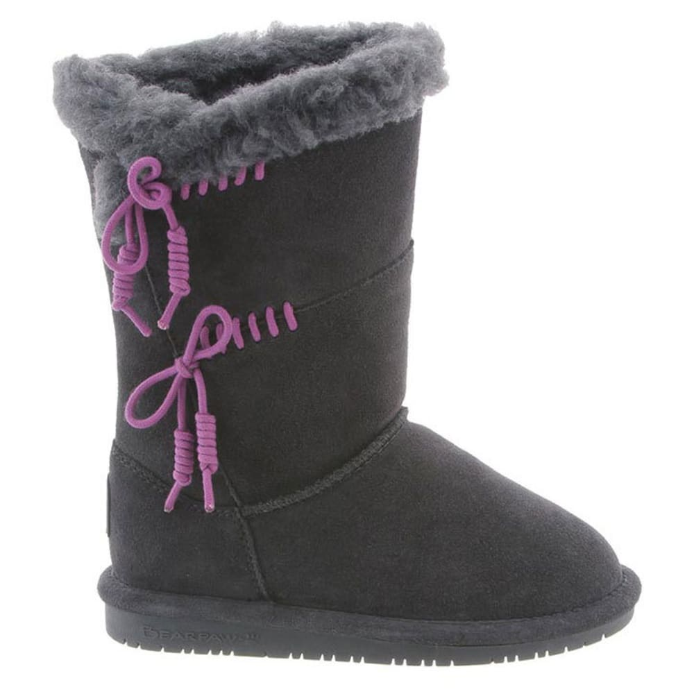 BEARPAW Girls' Riley Boots, Charcoal/Plum - CHARCOAL