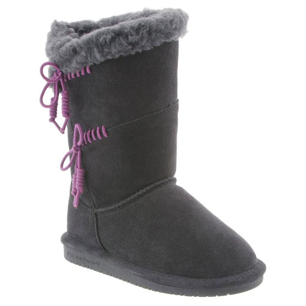 BEARPAW Girls' Riley Boots, Charcoal/Plum 1