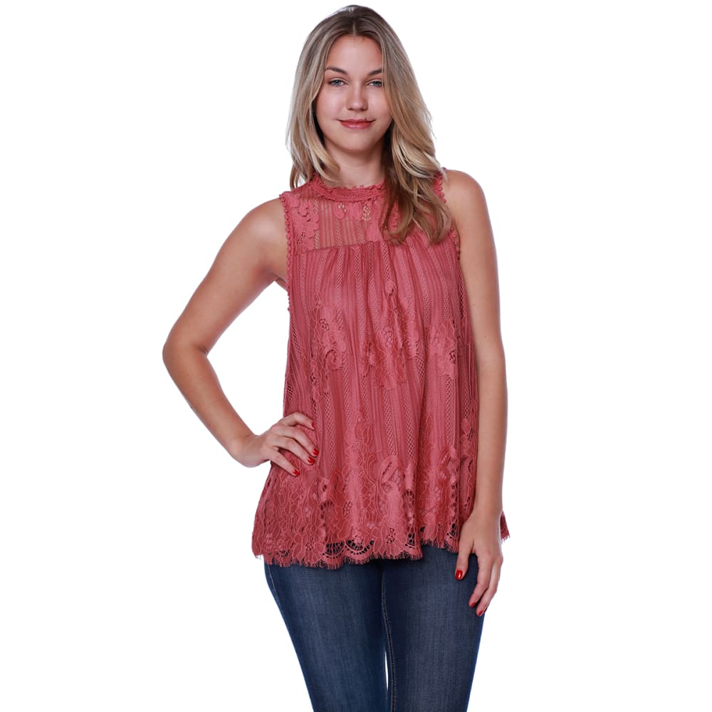 TAYLOR & SAGE Juniors' Sleeveless Hi-Neck Lace Overlay Top - AUT-AUTUMN BELLE